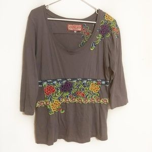 Johnny was JWLA gray floral embroidered top